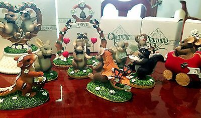 Charming Tails Lot Of 10 Wedding Love Mice Bunny Figurines & Cake Topper Mouse