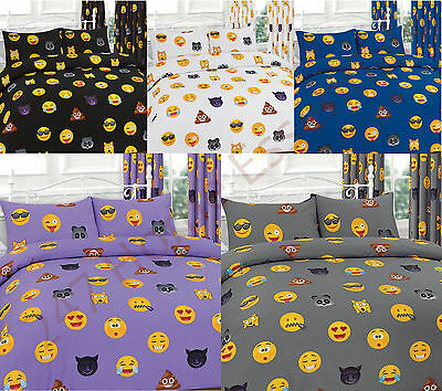 Luxury ICON Print Duvet Cover Bed Set with Pillow Cases Emoji Single Double King