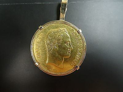"1886 Venezuela Gold Coin 100 Bolivares  ""PACHANO'"" with 14K bazel"