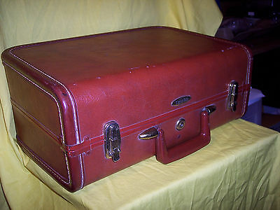 """Taperlite Vintage Luggage Suitcase Overnighter CARRY ON 11"""" X 16.5"""" X 7.5"""" BROWN"""