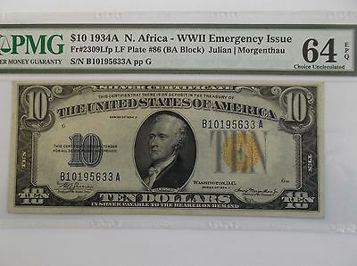 1934A  PMG64 EPQ!  $10 SILVER CERTIFICATE  N. Africa (YELLOW SEAL)