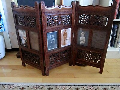 Antique  Victorian Hand Carved Mahogany Wood Screen with  Memory  panels