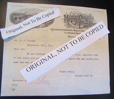 Moline Plow Company 8 x 7 Letter 1915 Original Over 100 Years Old!