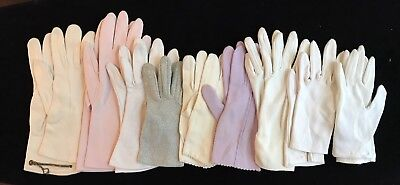 Assorted Lot of Ladies Vintage Gloves, Different Colors Sizes Styles (RF685)
