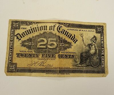 Dominion Of Canada 25 Cents Paper Bank Note Bill Signed Courtney