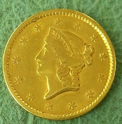 1851 Gold Liberty Head $1 GREAT Condition Die Crack on obverse