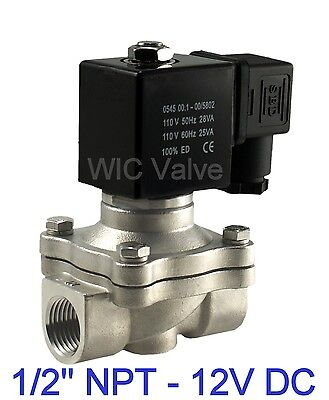 "1/2"" Inch Stainless Electric Air Water Gas Solenoid Valve NC 12V DC Viton Seal"