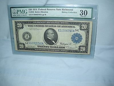 1914 $20 Fr #982 Burke/Houston Federal Reserve Note Richmond PMG 30 Very Fine