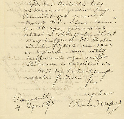 WAGNER, Richard (Opera): Autograph letter signed