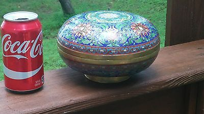 Vintage Unusual Large Chinese Cloisonne Round Lidded Box Blue with FLOWERS
