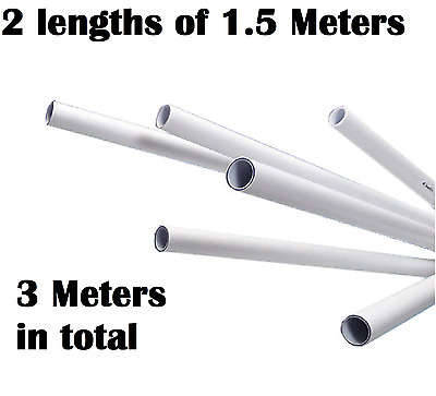 2 x  15mm 1.5M [3Mtr] White Push Fit Speed Fit Plastic Barrier Pipe