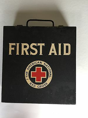 Vintage American Red Cross First Aid Kit, original contents, arm badge  50's
