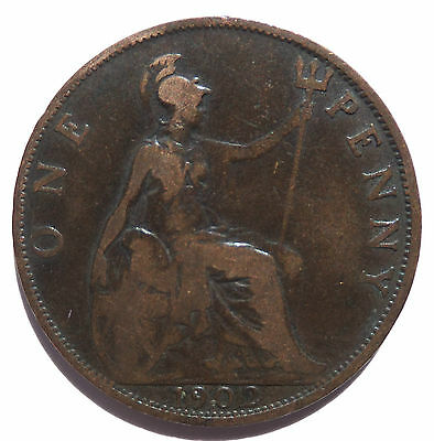 1902 Low Tide Penny Edward Vii Scarce Coin (3822A)