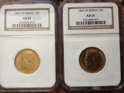 Russia 15 Roubles Gold 1897 AT, AU55 NGC 2 Coins
