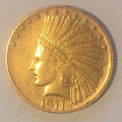 1911 GOLD Indian Head Eagle $10 Coin