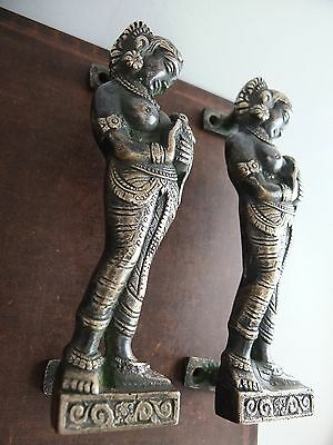 Vintage Antique Style Solid Brass Sculpture Pair Of Door Handles Pulls