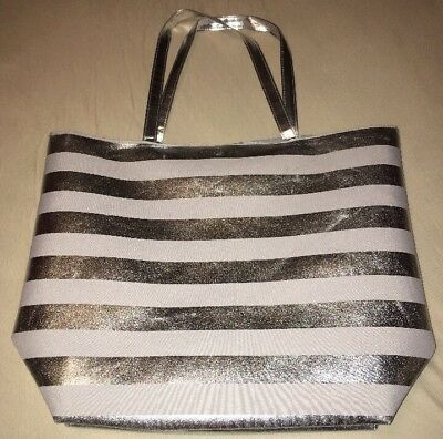Macy's Tote Bag Glitter Silver & White Never Used!!
