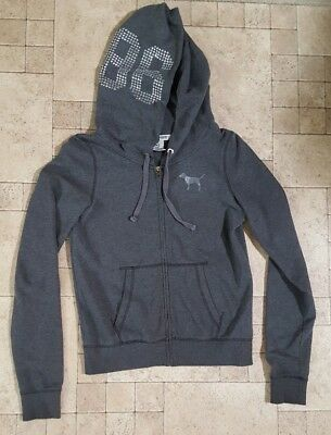 Victoria Secret 86 LOVE PINK Bling Sequence Gray Hoodie Size M