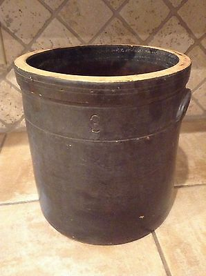 Antique 3 GALLON DARK BROWN SALT GLAZED LARGE CROCK