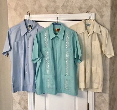 VTG Lot 2 Haband Guayabera 1 El Hombre Cuban Embroidered ROCKABILLY Zipper