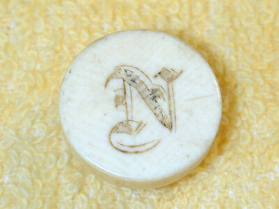 Antique Stud Collar Button Ivoroid Ivorine Celluloid Engraved w Initial N