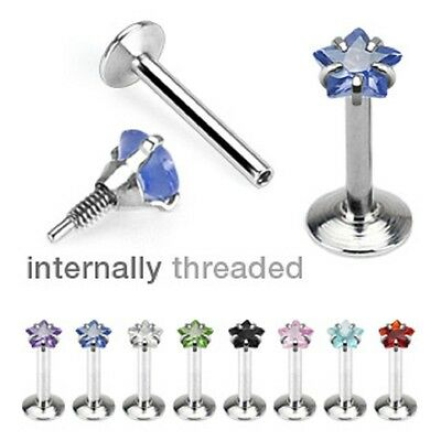 (2pc) 16g Straight Flat Back Barbell STAR Cut CZ Prong Set Surgical Steel