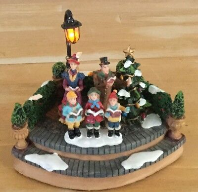 Christmas Village Lighted Town Square Carolers