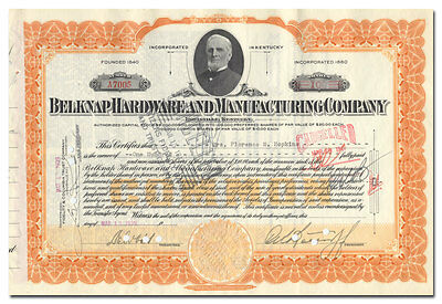 Belknap Hardware and Manufacturing Company Stock Certificate (Kentucky)