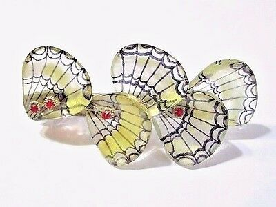 France Plastic Barrette Yellow Black Red Accent Vintage Butterfly Wing Style