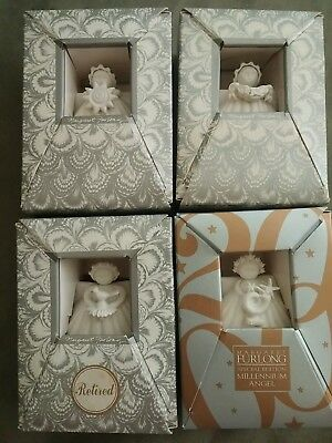"(FOUR) 3"" Margaret Furlong Shell Angel Ornaments~1994,1995,1999, 2000 W/Boxes"
