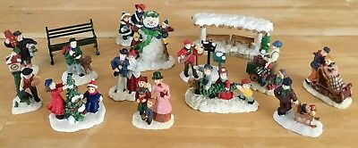 15 Pc Lot Of Christmas Village Accessories