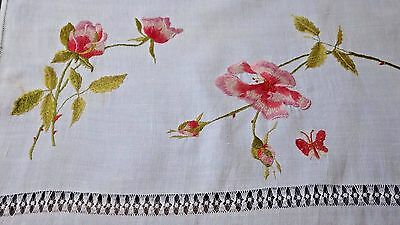 """Long SOCIETY SILK Embroidery Linen Runner : Wild Roses, Butterfly, 64'[ x 22"""""""