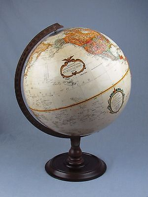 """Vintage Replogle 12"""" Globe Raised Relief Lathed Wood Stand USSR World Classic"""