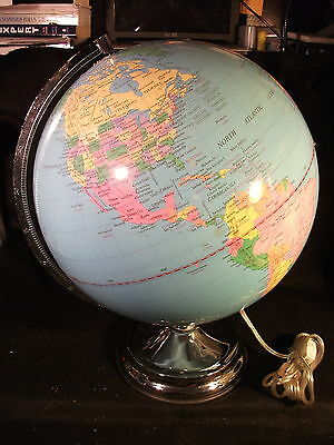 Unbranded 12 Inch Fully Lighted Tabletop Globe w/Chrome Base NICE!