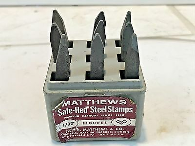 "Reverse Matthew's 1/32"" Safe-Hed Steel Stamps Numbers, Machinist, Free Ship"