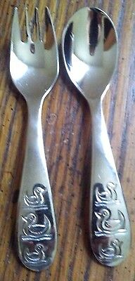 DANSK Baby Duck Flatware Set 2 Piece Child Baby Spoon and Fork 18/10 Stainless