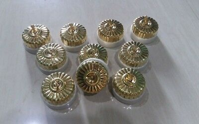 Nautical light Brass Floral Clipsal Toggle Switch Porcelain Electric Button
