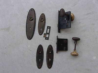 Vintage Antique Sargent Entry Mortise Lock  Knobs, Escutcheons Parts Restoration