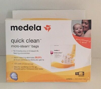 New Medela Quick Clean Micro-Steam Sterilisation Bags X 5 Pack