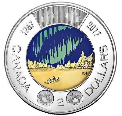 CANADA 2017 New $2 COLOR Glow in the Dark 150th Our Wonders (BU from roll)