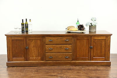Oak 1900 Antique 8' Kitchen Counter, Sideboard or TV Console Cabinet