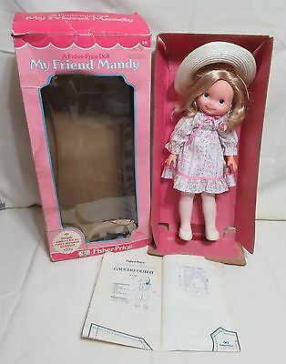 """Fisher Price 16"""" Doll My Friend MANDY 211 With Box 1979 & Gaucho Outfit Pattern"""