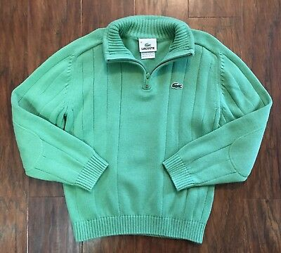 Lacoste Boys 10 Green Cotton Knit 1/4 Zip Pullover Sweater EUC