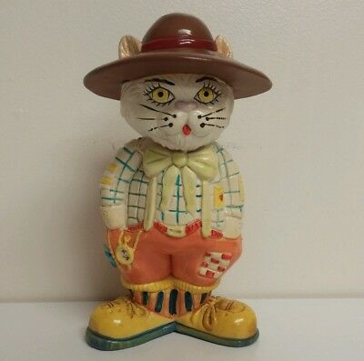 CHARLES FAZZINO ? Cool Cat Piggy Bank 1983 Small World Vintage Toy Jazz NYC 3D
