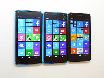 Lot of 3 Microsoft Lumia 640 RM-1073 Smartphones 2 Cricket & 1 AT&T AS-IS GSM
