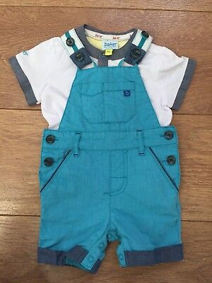 Ted Baker Baby Boys Dungarees And T-shirt Outfit Set 0-3 Months Worn Once