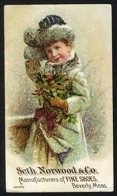 BEVERLY MA Seth Norwood Fine Shoes Trade Card 1880's VICTORIAN GIRL in SNOW