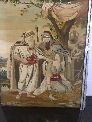 OLD WALL TAPESTRY BIBLICAL scene Moses and Aaron 760mx660mm