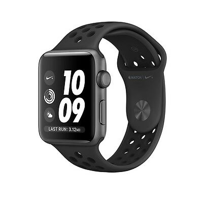 Apple Watch Nike+ Gray Aluminum 42mm Case Anthracite/Black Sport Band MQ182LL/A