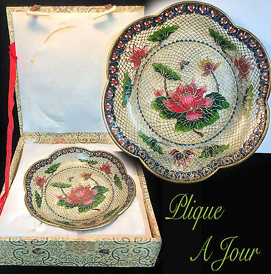 Stunning Vintage Chinese Plique A Jour  Enamel Wire Plate Bowl Butterfly Floral